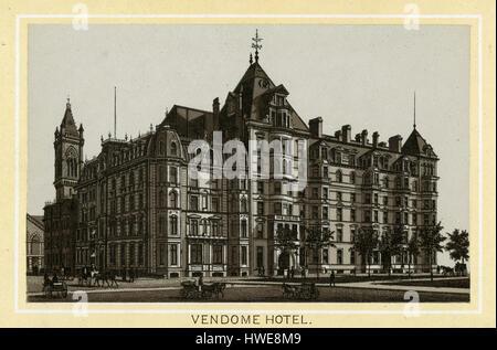Antique 1883 monochromatic print from a souvenir album, showing the Hotel Vendome in Boston, Massachusetts. The - Stock Photo