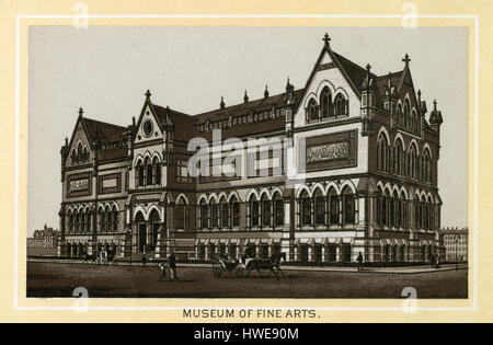 Antique 1883 monochromatic print from a souvenir album, showing the original Museum of Fine Arts building in Boston, - Stock Photo