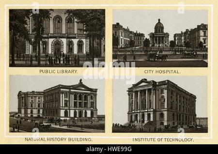 Antique 1883 monochromatic print from a souvenir album, showing the Public Library (Boylston Street, 1858–1895), - Stock Photo
