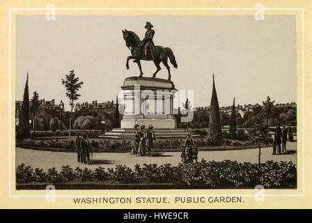 Antique 1883 monochromatic print from a souvenir album, showing the statue of George Washington in the Public Garden - Stock Photo