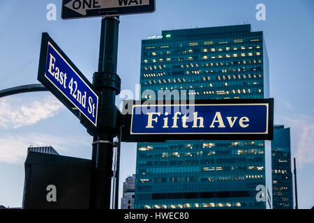 Street sign of Fifth Ave and East 42nd St - New York, USA - Stock Photo