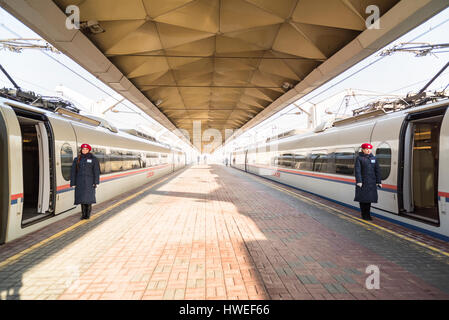 High-speed train Sapsan on the platform of the Leningrad railway station - Stock Photo