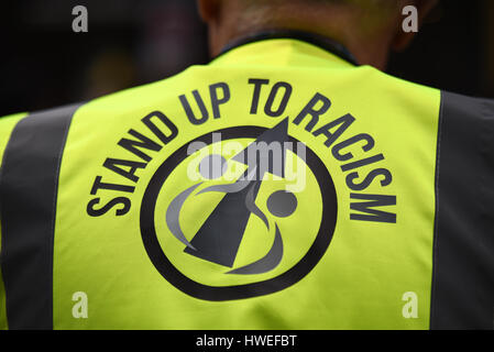 Stand up to racism. A demonstration took place in London on United Nations Anti Racism Day starting at Portland - Stock Photo