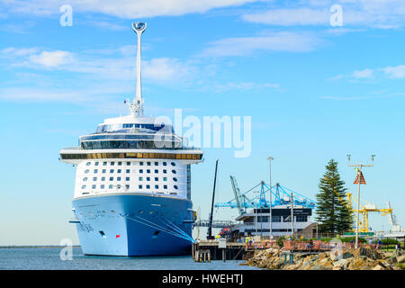 Port Adelaide, South Australia, February 14, 2017:  MS Ovation of the Seas cruise ship leaving Outer Harbour. It - Stock Photo