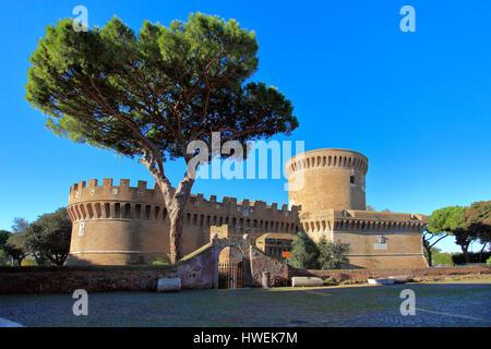Italy Lazio - Ostia Antica - Castle of  Giulio II in Medieval Village  of Ostia antica - Stock Photo