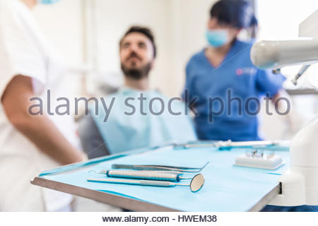 Tray of sterile dental equipment in dental office - Stock Photo