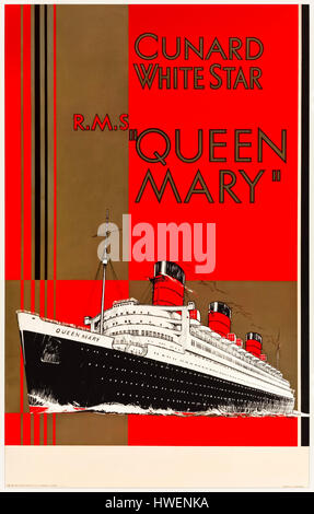 RMS Queen Mary 1936 publicity poster for the passenger liner that captured the Blue Riband in that year.  The ship - Stock Photo