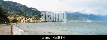 Pianello del Lario, Italy - september 5, 2015: afternoon Panorama of the country overlooking Lake Como and frame - Stock Photo