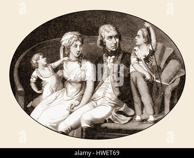 The royal couple Frederick William III, 1770 - 1840, king of Prussia and Louise of Mecklenburg-Strelitz, 1776 - 1810, with two sons