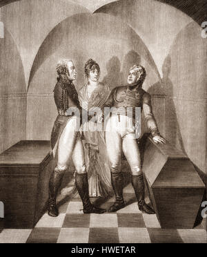 Emperor Alexander I of Russia at the tomb of Frederick II. at the Garrison Church in Potsdam, with Frederick William III of Prussia in the presence of