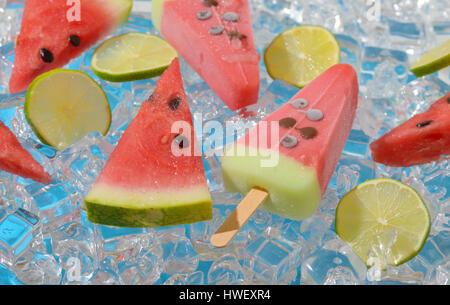 ice cream with watermelon and lemon - Stock Photo