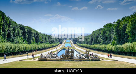 Caserta, Italy - 24 August 2016 - The gardens, the fountains and the long promenade of The Royal Palace of Caserta - Stock Photo