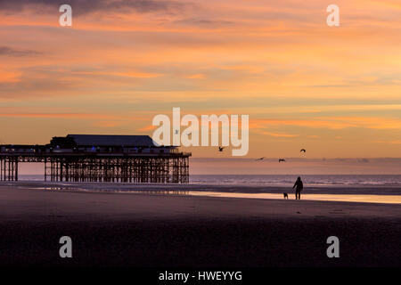 Blackpool -  a seaside resort on the Irish Sea coast of England. A man walks his dog along the beach by the North - Stock Photo