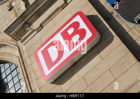 DB Logo at Koblenz Hauptbahnhof (main station). Deutsche Bahn AG is the largest railway operator and infrastructure owner in Europe.