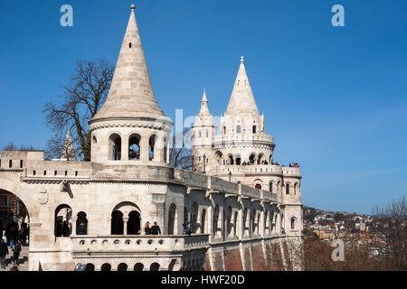 Fishermen's Bastion (Halászbástya), Budapest, Hungary - Stock Photo