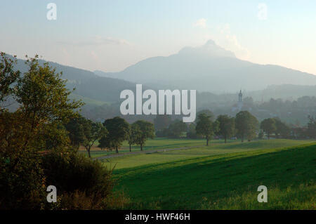 Alpine pastures in the Wertachtal valley with Grünten mountain peak in background, Wertach, Oberallgäu, Bavaria, - Stock Photo