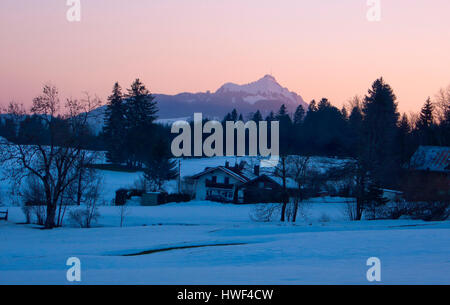 View of Grünten mountain from Vorderschneid, Wertach, Bavaria, Germany - Stock Photo