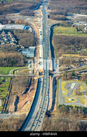 Expansion of the A43 motorway between Recklinghausen and Herne, Recklinghausen motorway junction, A2 motorway and - Stock Photo