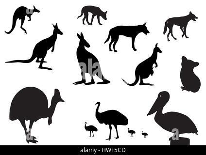 different Australian animals silhouette on white background - Stock Photo