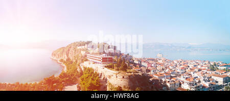 View from the Palmidi Fortress down to the old area of the city of Nafplion/Nauplia and the Argolic Gulf with the - Stock Photo
