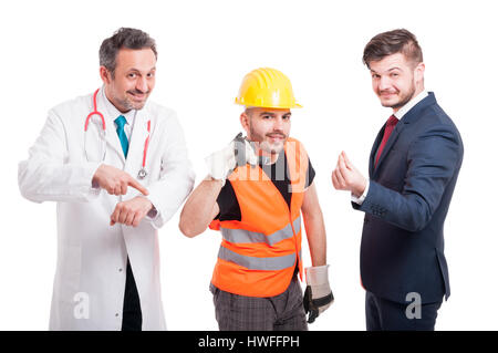 Succesful doctor doing call gesture while builder pointing his wrist and businessman doing money gesture as profit - Stock Photo