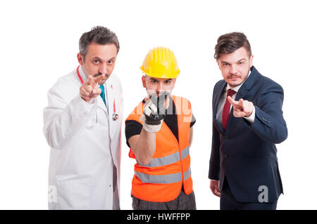 Doctor, engineer and businessman keeping eyes on you as surveillance or threaten concept isolated on white - Stock Photo