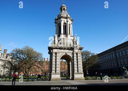 the campanile of trinity college Dublin in parliament square Republic of Ireland - Stock Photo