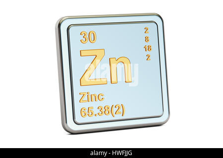 Zinc Zn Chemical Element 3d Rendering Isolated On Black Background