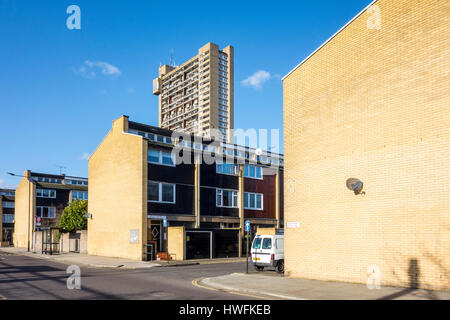 Housing estate street with Trellic Tower in the background. London, UK - Stock Photo