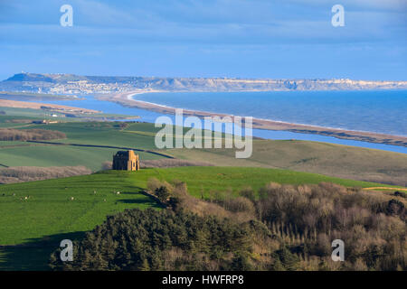 Abbotsbury, Dorset, UK.  20th March 2017.  UK Weather.  A view of St Catherine's Chapel at Abbotsbury in Dorset, - Stock Photo
