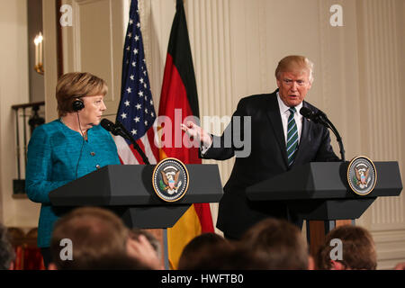 German Chancellor Angela Merkel visits Washington, D.C. on Friday, March 17, 2017 and meets with U.S. President - Stock Photo