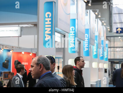 Hanover, Germany. 20th Mar, 2017. Photo taken on March 20, 2017 shows a view of booths of Chinense exhibitors during - Stock Photo