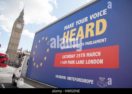 London, UK. 21st Mar, 2017. A van driving around in Westminster with the message 'Make your voice heard' by Unite - Stock Photo