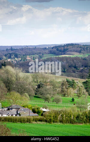 The Pilgrim's Way, Guildford, UK. 21st March 2017. Beautiful spring sunshine over the Home Counties this afternoon. - Stock Photo