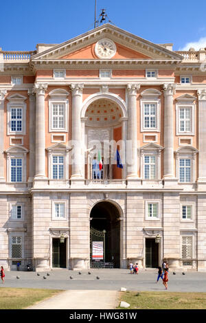 Caserta, Italy - 24 August 2016 - Main entrace on the facade of The Royal Palace of Caserta (italian: Reggia di - Stock Photo