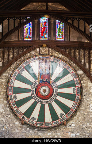 Winchester Round Table dating from 13th century, , Winchester Great Hall, Winchester Hampshire UK - Stock Photo