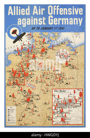 1941 Vintage retro poster WW2 map detailing locations of various allied air attacks throughout Germany during World - Stock Photo