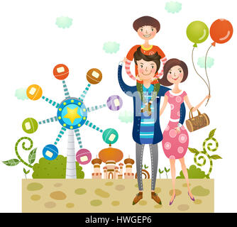 adult,man,woman,boy,mother,father,son,wife,husband,outdoors,outdoor,day,exterior,travel destination,full length,bond,bonding,minor,family,happy - Stock Photo