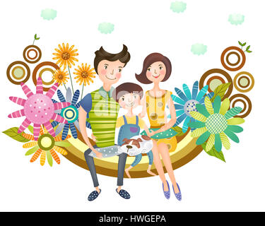 family,happy family,adult,man,woman,boy,mother,father,son,wife,husband,adult,child,one child,front view,together,happy,parent,care,affection,smiling,portrait,people,person,three - Stock Photo