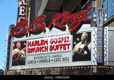 New York, USA - April 05, 2008: Outside the famous BB King Blues Club & Grill on 42nd Street on a sunny Sunday morning - Stock Photo