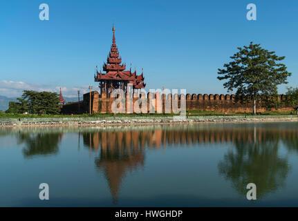 Moat with Royal Palace, Mandalay, Myanmar - Stock Photo