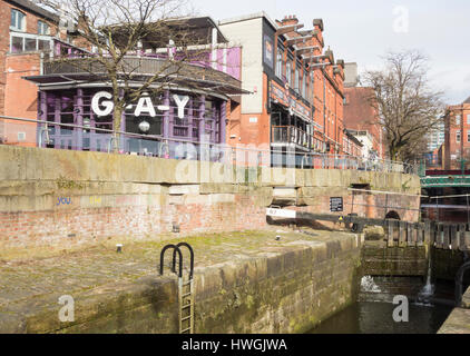 Canal street in Manchester`s Gay village. Manchester, England. UK - Stock Photo