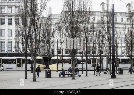 Metrolink tram near Piccadilly Gardens in Manchester, England. UK - Stock Photo