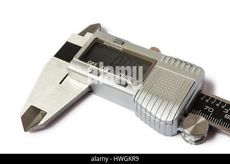 Close-up of digital caliper. Isolated on white background. - Stock Photo