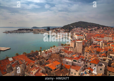 Split, Croatia. Beautiful romantic old town of Split during a sunny day. Croatia, Europe. - Stock Photo