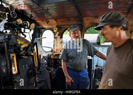 France, Alpes Maritimes, Puget Theniers, steam engine warming up, Daniel Bonneau (engineer and therefore train driver) - Stock Photo