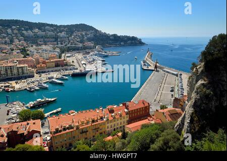 France, Alpes Maritimes, Nice, the old port or port Lympia seen from the castle hill - Stock Photo