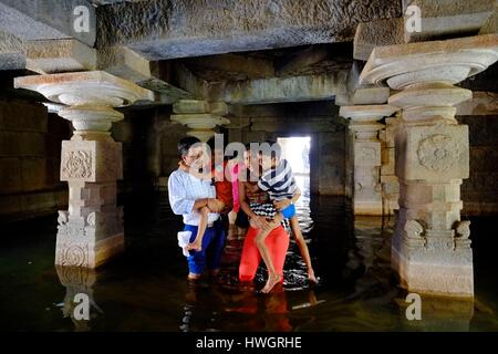 India, state of Karnataka, Hampi, underground Shiva Temple, Hampi is the site of the last capital of the last great - Stock Photo