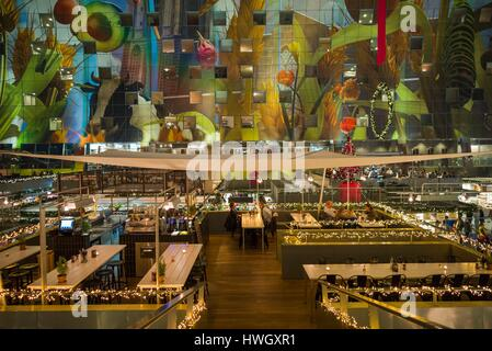 Netherlands, Rotterdam, Markthal foodhall, elevated interior view - Stock Photo