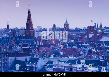 Netherlands, Amsterdam, elevated city skyline from the north, dusk - Stock Photo
